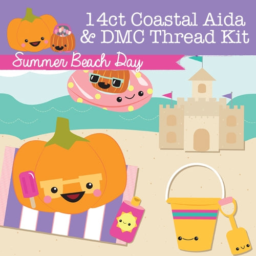 KIT - Summer Beach Day - 14ct Aida & Threads