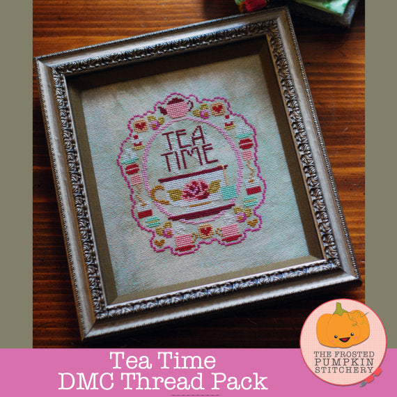 Frosted Pumpkin Stitchery - Tea Time DMC Thread Pack