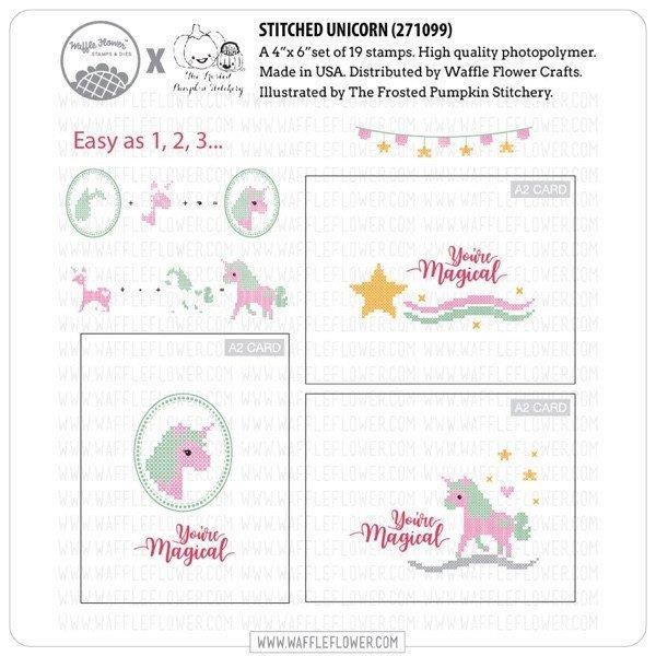 Waffle Flower Clear Acrylic Stamp Set - Cross Stitch Unicorn