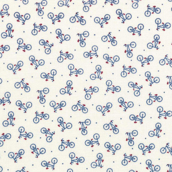 Lecien American Country - White/Blue Bicycles