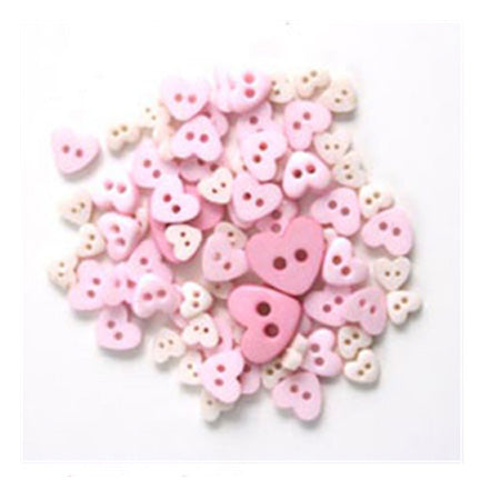 Mini Heart Buttons White