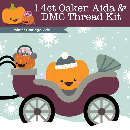 KIT - Winter Carriage Ride - 14ct Aida & Threads