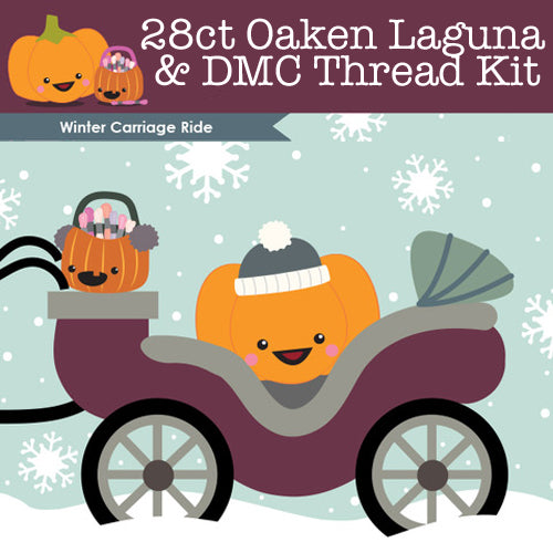 KIT - Winter Carriage Ride - 28ct Lugana & Threads