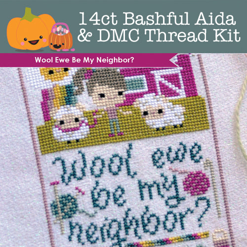 KIT - Wool Ewe Be My Neighbor - 14ct Aida Bashful & DMC Threads