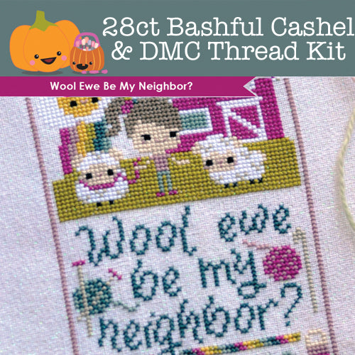 KIT - Wool Ewe Be My Neighbor - 28ct Cashel Bashful & DMC Threads