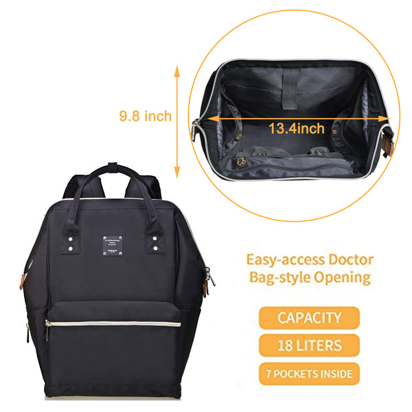 Bebamour Casual College Backpack Lightweight Travel Wide Open Back to School Backpack for Women&Men