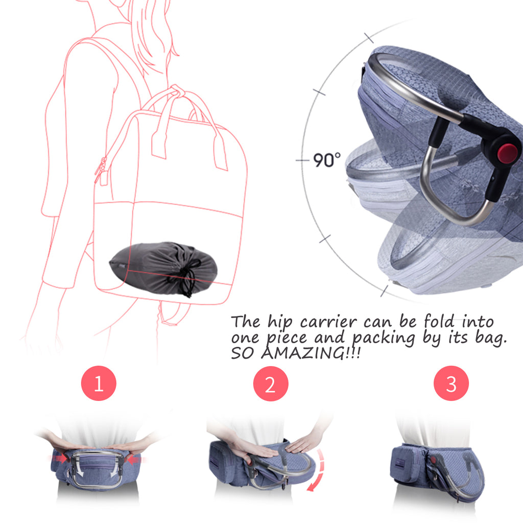 Bebamour Foldable Baby Carrier Hip Seat Safety Certified Baby Carrier Large Seat
