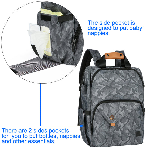 Bebamour Diaper Bag Travel Backpack with Diaper Mat Large Capacity Baby Bag (Grey)