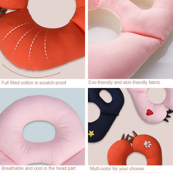 Bebamour Baby Pillow Baby Head Rest Pillow for Stroller Cotton Neck & Chin Support Pillow for Infant Cute Monster Shape Baby Neck Protection Pillow for Travelling