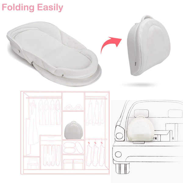 Bebamour Baby Portable Bed Foldable Bassinet for Bed Bionic Travel Bed Womb-Like Protector Baby Snuggle Nest Bed Cosleeping Baby Bed 0-36 Months