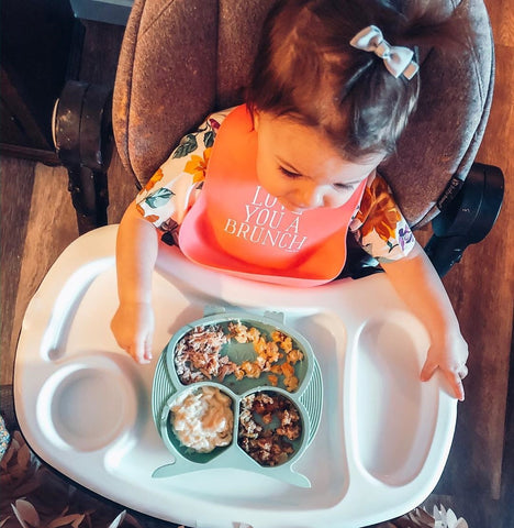 Bebamour Baby Divided Dinner Plate with Straw 100/% Silicone Suction Plates for Toddler BPA Free Portable Feeding Plate Jazz Gray