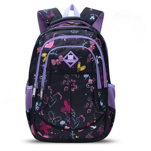 Bebamour School Bag Backpack for Girls Butterfly and Sweetheart Pattern Kids Backpack