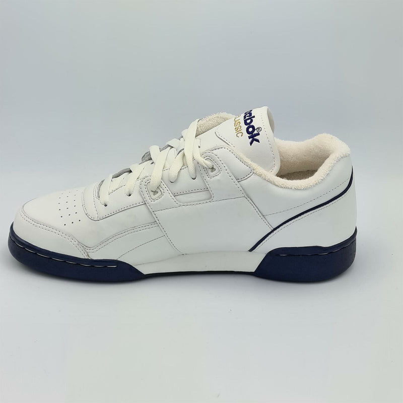 Reebok Classic Mens Retro Workout Plus Trainers - White/Blue - UK 8