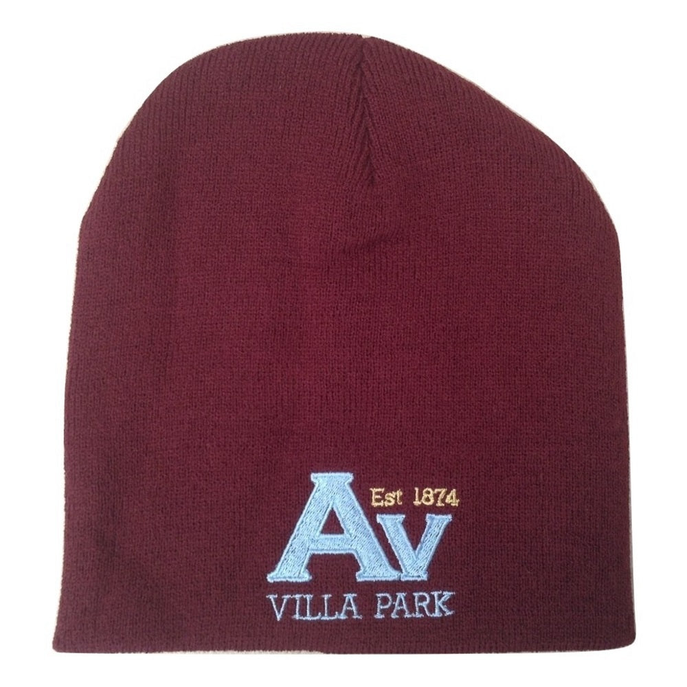 Claret and Blue Villa Supporter Adult Woven Winter Bronx Hat