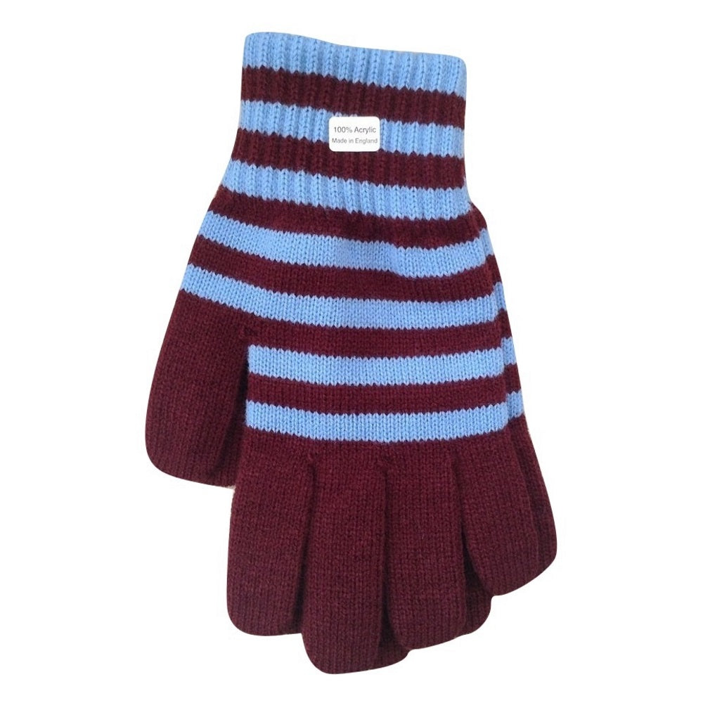 Claret & Blue Villa Supporter Woven Winter Gloves