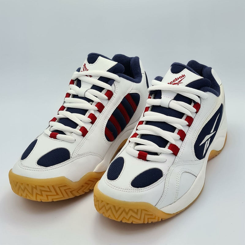 Reebok Mens Match Point All Court Tennis Shoes - White/Navy - UK 8