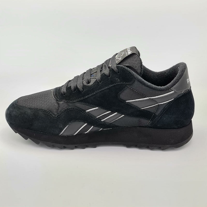 Reebok Mens Classic Leather Ripstop Ripple Trainers - Black - UK