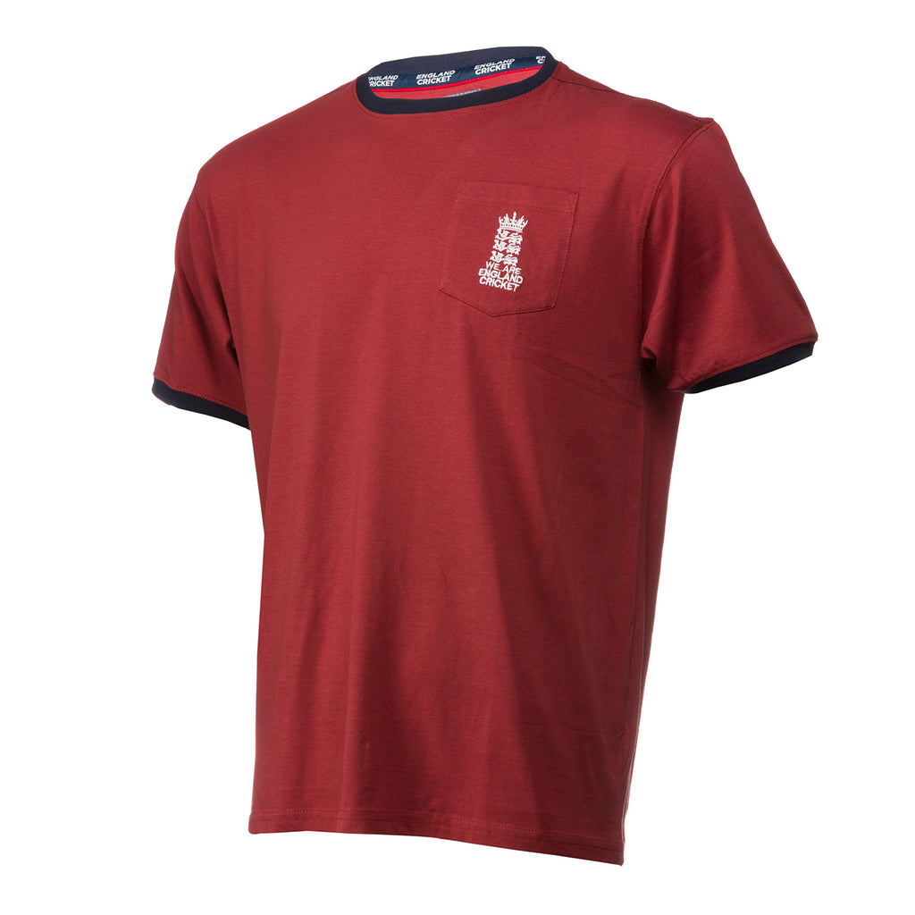 England Cricket ECB Mens Small Logo Pocket Tee