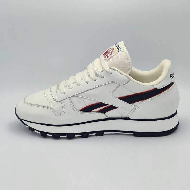 Reebok Mens Classic Leather Stripes Retro Trainers - White - UK 8