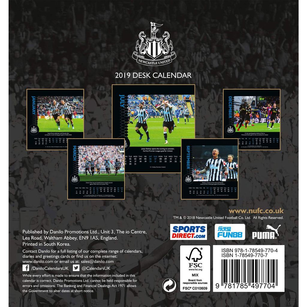 The Official Newcastle United FC 2019 Desk Easel Calendar
