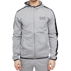 Emporio Armani EA7 Mens Lightweight Cotton Full-Zip Hoodie With Branded Taping 3GPM22