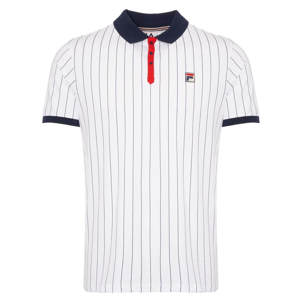 FILA Mens BB1 Classic Vintage Striped Polo Shirt - White