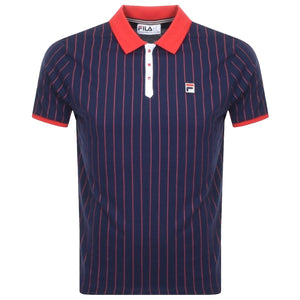 FILA Mens BB1 Classic Vintage Striped Polo Shirt - Peacoat
