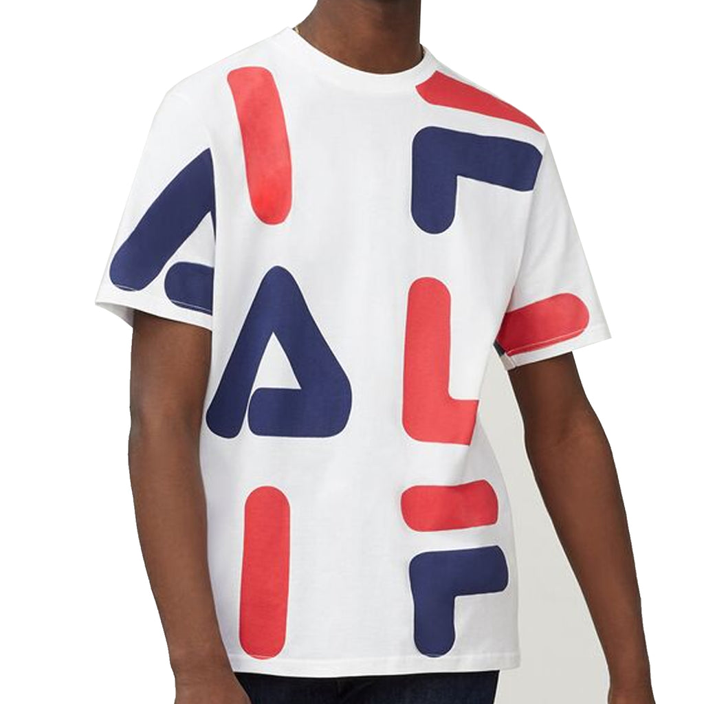 FILA Mens Bennet AOP Print Short Sleeve T-Shirt - White