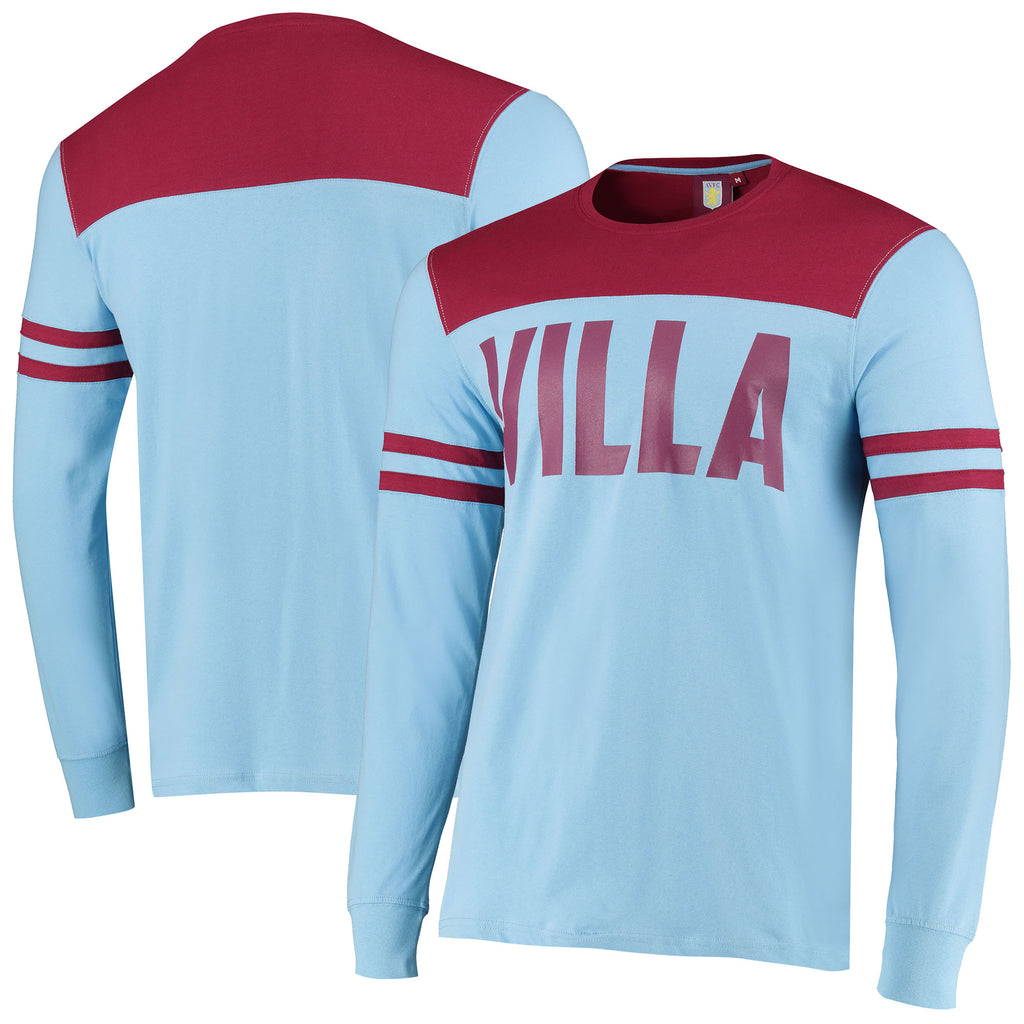 Aston Villa Official Mens Cut & Sew Long Sleeve T Shirt - Sky