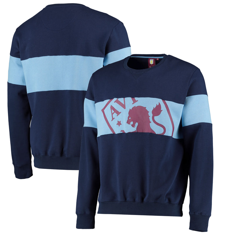 Aston Villa Official Mens Cut & Sew Crew Neck Sweat