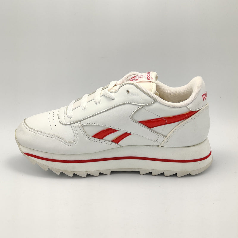 Reebok Womens Classic Leather Cosmic Retro Trainers - White/Red - UK 3.5