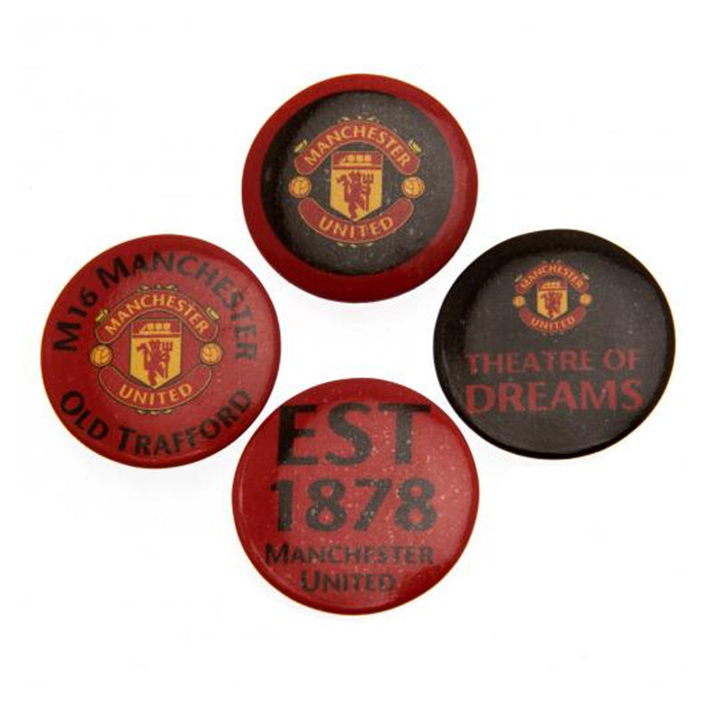 Manchester United FC Official Button Badge - Pack Of 4