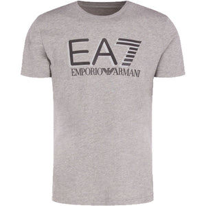 Emporio Armani EA7 Mens 3HPT81 Short Sleeve Big Logo Cotton T-Shirt - Medium Grey
