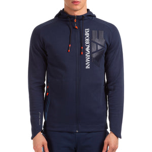 Emporio Armani EA7 Mens 3HPM39 Cotton Poly Big Logo  Hooded Jacket - Navy Blue