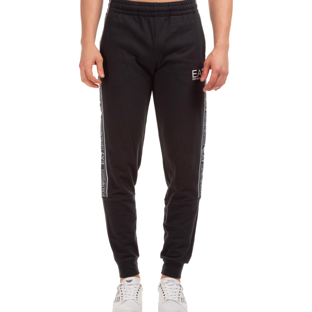 Emporio Armani EA7 Mens 3HPP61 Branded Cotton Track Pants - Black