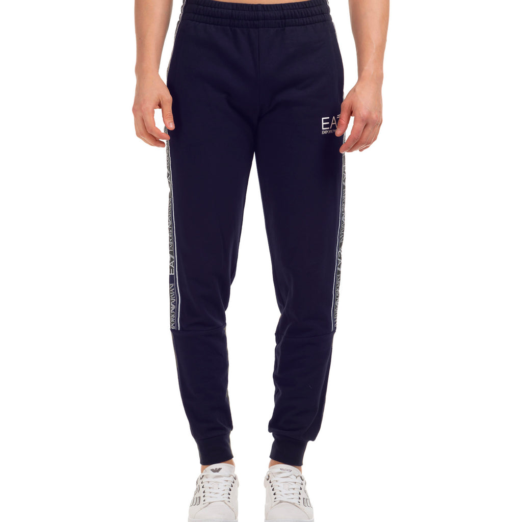 Emporio Armani EA7 Mens 3HPP61 Branded Cotton Track Pants - Navy Blue