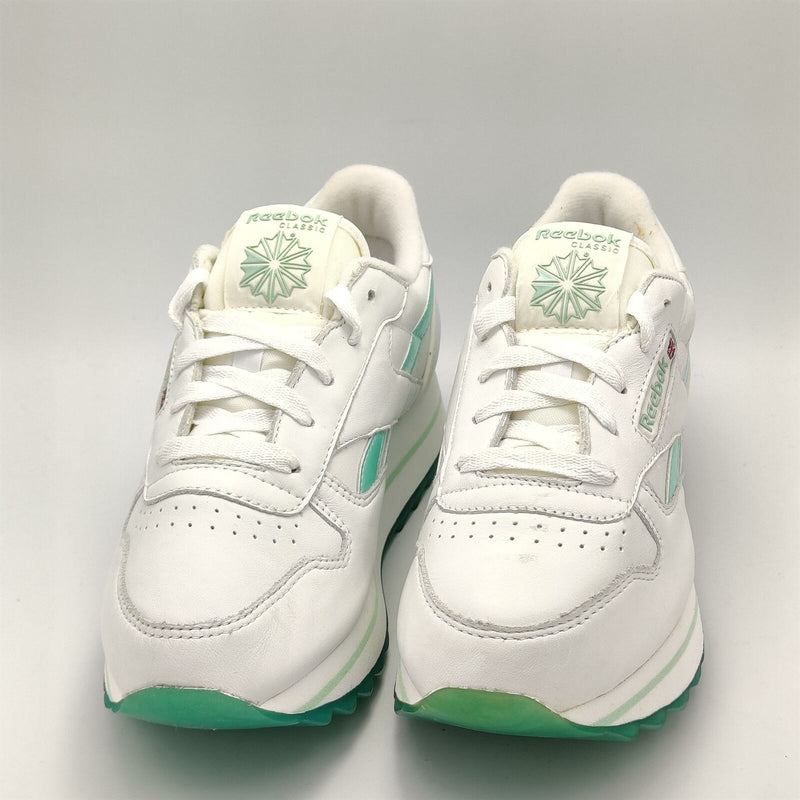 Reebok Junior Classic Leather Pearlized Retro Trainers - White/Green - UK 3.5