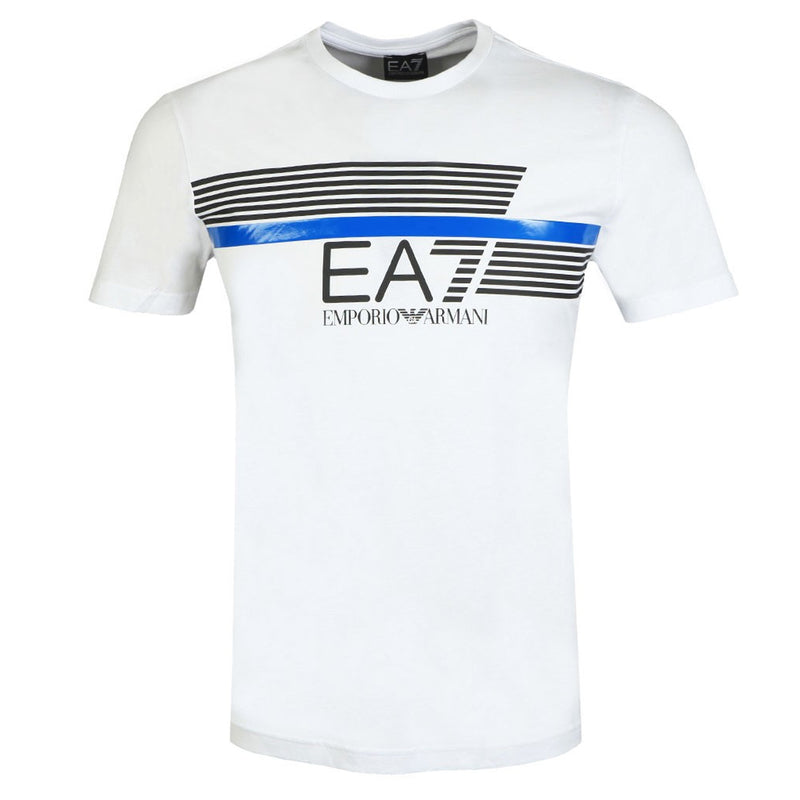 Emporio Armani EA7 Mens 3HPT34 Short Sleeve 7 Stripes Logo Cotton T-Shirt - White
