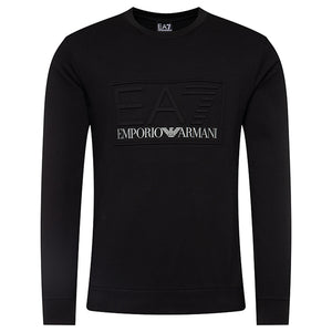 Emporio Armani EA7 Mens 3HPM30 Cotton 3D Logo Sweatshirt - Black