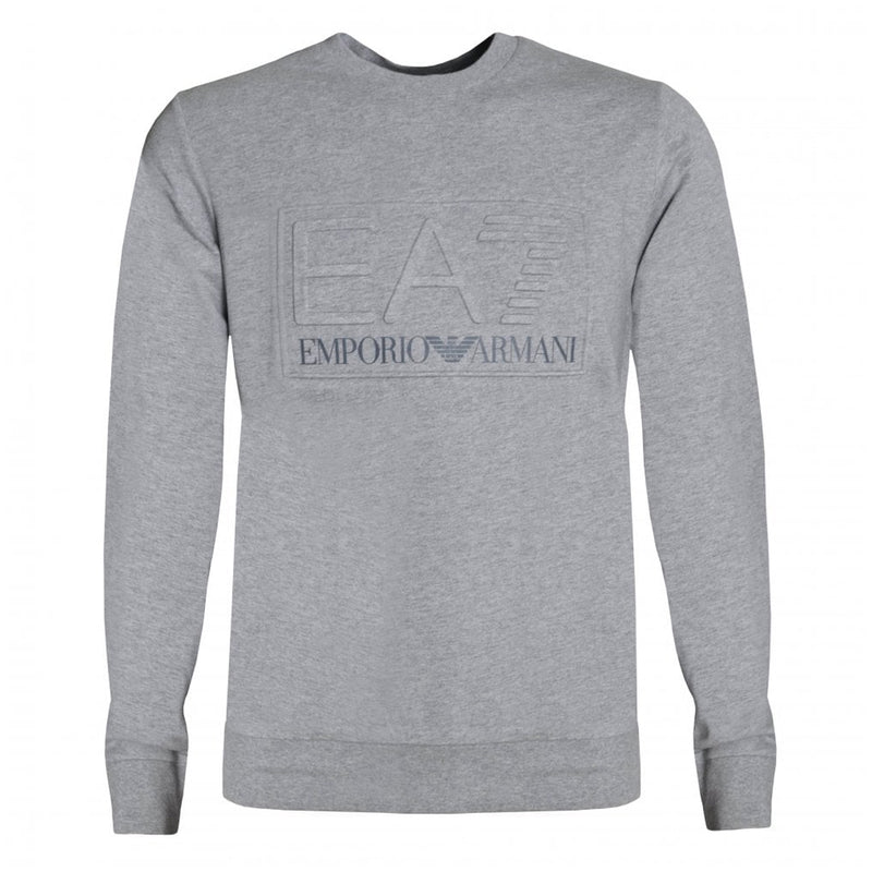 Emporio Armani EA7 Mens 3HPM30 Cotton 3D Logo Sweatshirt - Medium Grey