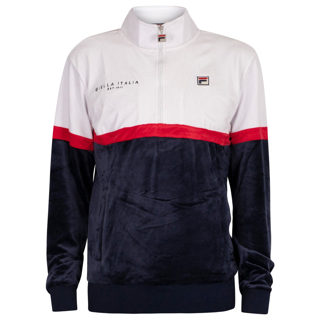 FILA Mens Kane Velour Colour Block 1/2 Zip Track Jacket