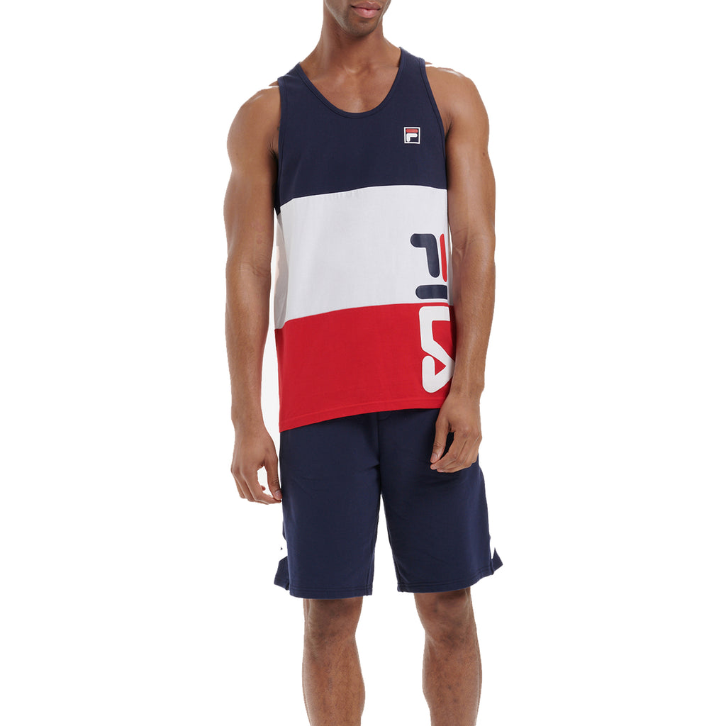 FILA Mens Sora Cut And Sew Stripe Graphic Tank Top