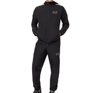Emporio Armani EA7 Mens 3HPV08 Full Zip Hooded Polyester Tracksuit - Black