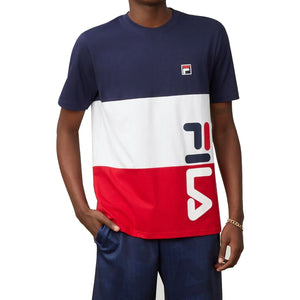 FILA Mens Alfredo Cut and Sew Grapphic T-Shirt - Peacoat