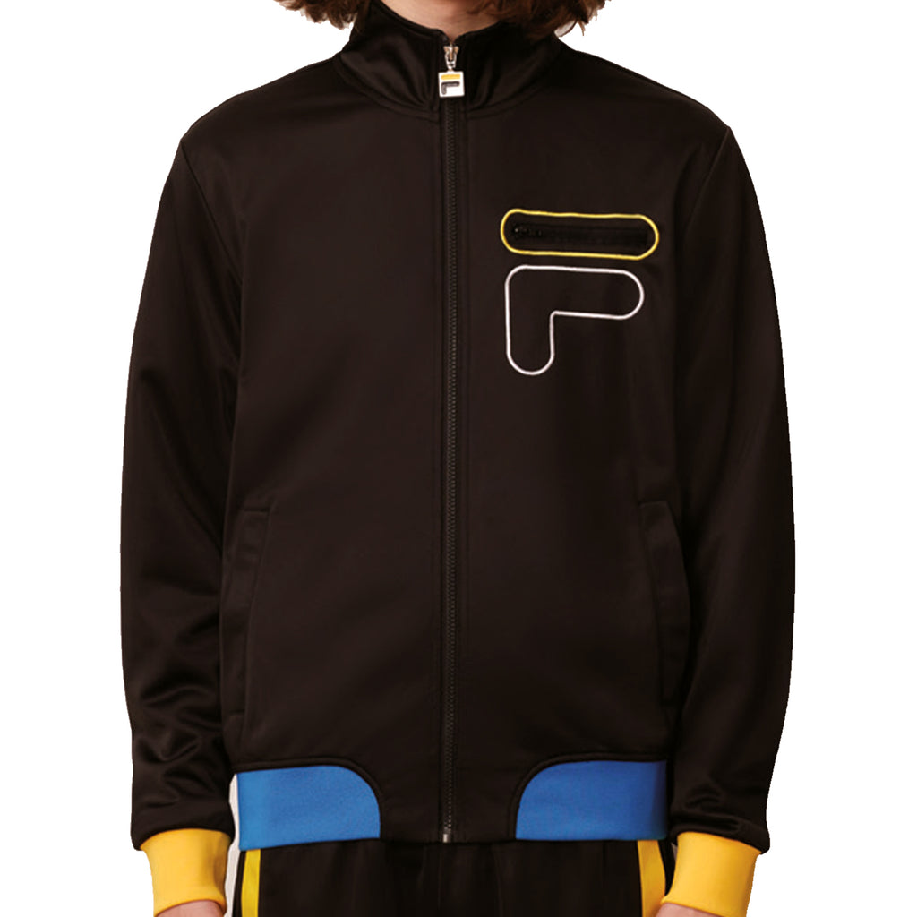 FILA Mens Pratik Full Zip Funnel Tracksuit Jacket - Black