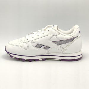 Reebok Junior Classic Leather Sparkle Retro Trainers - White/Purple - UK 3.5