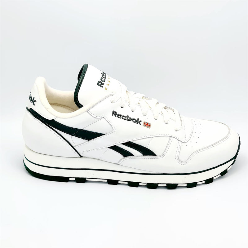 Reebok Classic Leather Mens Retro Trainers - White/Green - UK 8