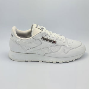 Reebok Classic Leather Mens Retro Trainers - White/White/White - UK 8