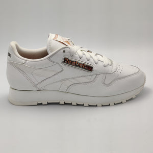 Reebok Womens Classic Leather Pin Stripes Retro Trainers - White/Org - UK 4.5