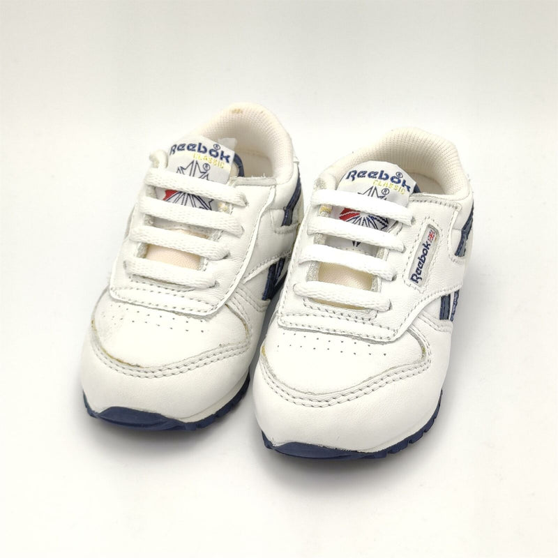 Reebok Infant Classic Leather Retro Trainers - White/Navy - UK K4
